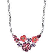 1928® Jewelry Silver-Tone Purple and Pink Enamel Flower Bib Necklace