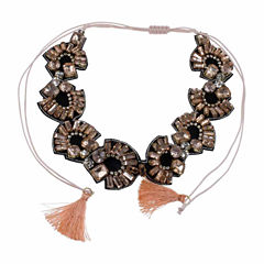 Jardin Womens Pink Brass Choker Necklace