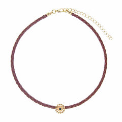 Jardin Womens Black Brass Choker Necklace