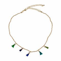 Jardin Womens Brass Choker Necklace
