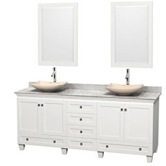 Acclaim 80 inch Double Bathroom Vanity with WhiteCarrera Marble Countertop and Arista Ivory MarbleSinks