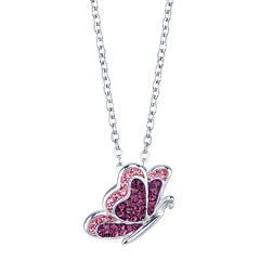 Crystal Sophistication® Butterfly Silver-Plated Brass Necklace