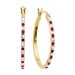 Lead Glass-Filled Ruby & Diamond Accent 18K Gold Over Silver Hoop Earrings