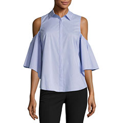 Worthington Cold Shoulder Button Front Shirt-Talls