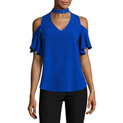 by&by Short Sleeve V Neck Knit Blouse-Juniors