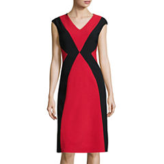 London Style Collection Cap-Sleeve Colorblock Sheath Dress
