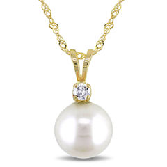 Cultured Freshwater Pearl & Diamond Accent 14K Yellow Gold Pendant Necklace