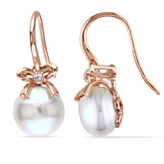 Cultured Freshwater Pearl & Diamond Accent 10K Rose Gold Earrings