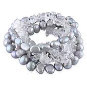 Gray Freshwater Baroque Pearl & Crystal Stretch Bracelet Set