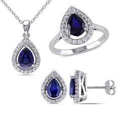 Lab-Created Blue Sapphire and Diamond Sterling Silver Earrings, Ring, and Pendant Necklace 3-Piece Set