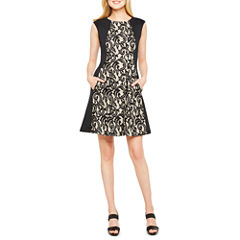 Danny & Nicole Sleeveless Brocade Fit & Flare Dress