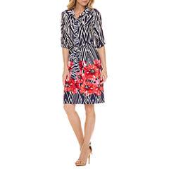 Liz Claiborne 3/4 Sleeve Shirt Dress