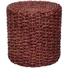 Oriental Furniture Rush Grass Knotwork Footstool