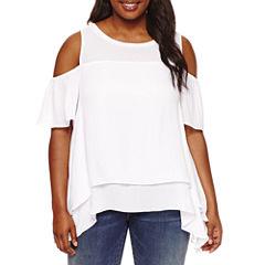 Boutique + Short Sleeve Cold Shoulder Woven Blouse-Plus