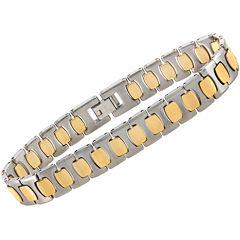 Mens Two-Tone Tungsten Link Bracelet