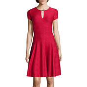 Danny & Nicole® Short-Sleeve Textured Bar-Neck Fit-and-Flare Dress