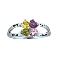 Personalized Engraved Simulated Birthstone Hearts Ring