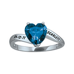 Personalized Engraved Simulated Birthstone Heart Ring