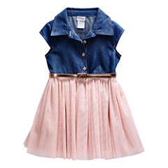 Young Land Denim Top Pink Tutu Dress - Toddler Girls