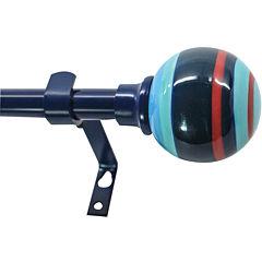 Decopolitan Blue Striped Ball Curtain Rod Collection