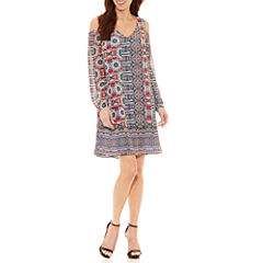Nicole By Nicole Miller Long Sleeve Geometric Sheath Dress
