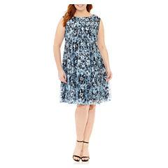 Danny & Nicole Sleeveless Fit & Flare Dress-Plus
