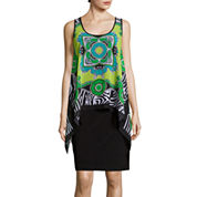 SL Fashions Sleeveless Scarf  Print Combo Dress
