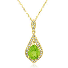 Womens Green Peridot 14K Gold Over Silver Pendant Necklace