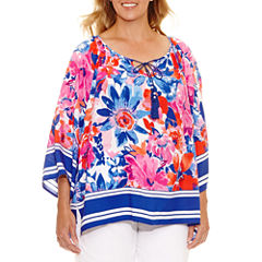Lark Lane Viva Antigua 3/4 Sleeve Flutter Sleeve Peasant Top Plus