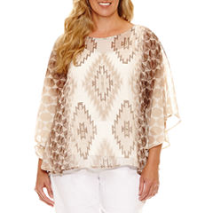 Lark Lane Coconut Cove Short Sleeve Scoop Neck Chiffon Blouse-Plus