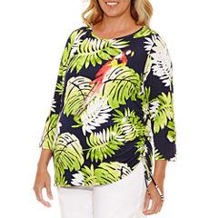 Lark Lane Braziliant 3/4 Sleeve Boat Neck T-Shirt-Womens Plus
