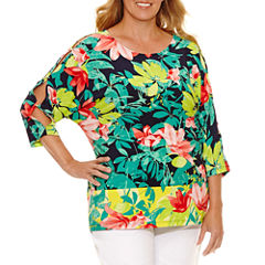 Lark Lane Braziliant 3/4 Sleeve Scoop Neck T-Shirt-Womens Plus
