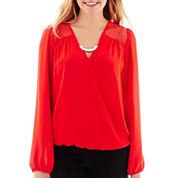 Heart & Soul® Long-Sleeve Chiffon Necklace Top
