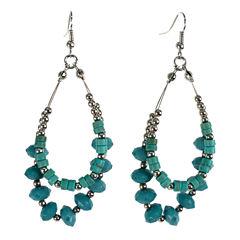 Aris by Treska Beaded Silver-Tone Hoop Earrings