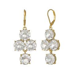 Monet® Clear Glass Gold-Tone Chandelier Earrings