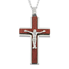 Mens Stainless Steel & Wood Crucifix Pendant