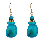 Bijoux Bar Blue Turquoise Bronze Drop Earrings