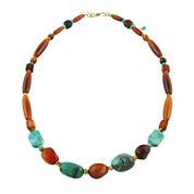 Bijoux Bar Multi Color Amber Bronze Beaded Necklace