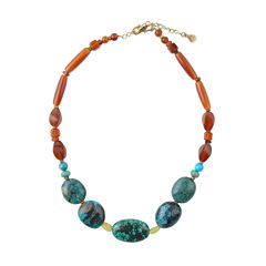 Artsmith By Barse Multi Color Amber Bronze Beaded Necklace