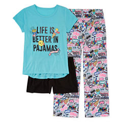 Total Girl 3-pc. Kids Pajama Set Girls