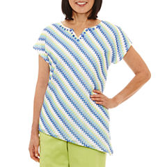 Alfred Dunner Corsica Short Sleeve V Neck T-Shirt-Womens