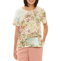 Alfred Dunner Botanical Garden Short Sleeve V Neck T-Shirt