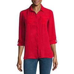 a.n.a Short Sleeve Button-Front Shirt
