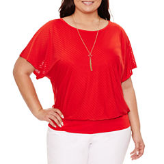 Alyx Short Sleeve Round Neck Knit Blouse-Plus
