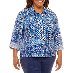 Lark Lane 3/4 Sleeve Button-Front Shirt-Plus