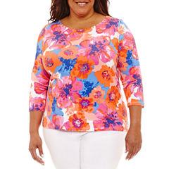 Lark Lane 0817 Must Haves 3/4 Sleeve Boat Neck T-Shirt-Womens Plus