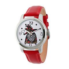 Disney® Womens Alice In Wonderland Red Queen Strap Watch