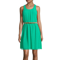 by&by Sleeveless Knot Back Belted Dress