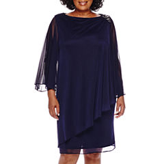 Blu Sage Beaded Shoulder Asymmetric Draped Sheath Dress - Plus