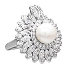 Cultured Freshwater Pearl & Swarovski Cubic Zirconia Sterling Silver Ring